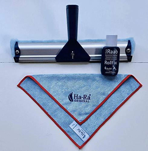 Ha-Ra 32 cm Fensterwischer + Ha-Ra 75ml Vollpflege Rollfix + HaRa Startuch mini (farbig sortiert: wird rot oder blau umrandet geliefert)