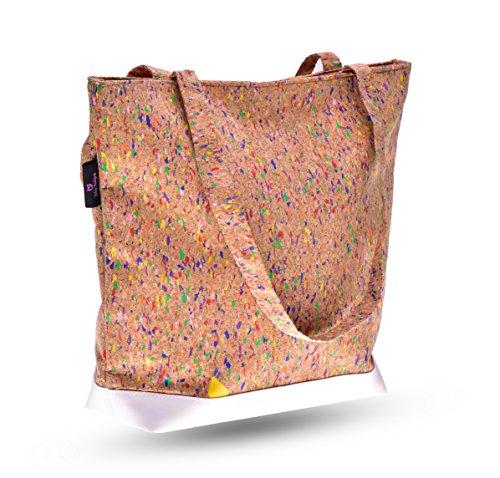 lila Tulpe - Schultertasche Ruby / hochwertige Damen Handtasche / Umhängetasche mit Reißverschluss aus Kork und veganem Leder / leicht, vegan und nachhaltig - 2