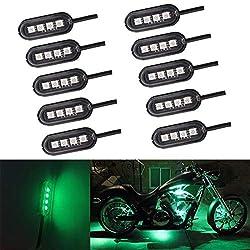 Chengs LED-Leuchten 10 PCS Universal Car/Motorrad LED-Leuchten Atmosphäre Inner dekorative Lampe DC12V (grünes Licht) (Color : Green Light)