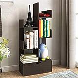TQ Bücherregal Kreativer Baum-Förmiger Boden Kleine Bücherregale Einfach Modernes Regal-97 * 48 * 20Cm,Black