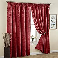 MZMZ Warm Protecting & Noise Reducting Room Darkening Cation Jacquard Flower lined Curtain (Two Panel) , Double Pleated-Red from MZMZ