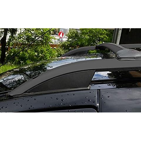 Barras de techo longitudinal para Volkswagen Caddy 08/10> Alu negro + patas plástico negro