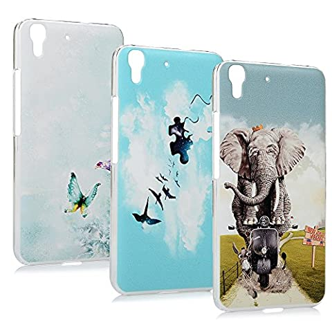 Lanveni® 3x Gemalt PC Hartplastik Case für Huawei Y6 / Honor 4A(5 Zoll) Case Schutzhülle Telefon-Kasten Dekorative Sicherung Handyhülle Bumper Handycase(Blau Himmel + Schmetterling + Motorrad Elefant)