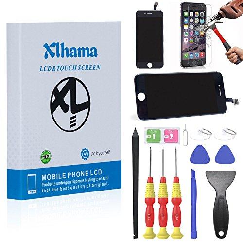Xlhama LCD Display Ersatz Bildschirm für iPhone 6S Schwarz Reparatur 3D Touchscreen Bildschirm Werkzeug Handbuch gehärtetem Glas Film (Lcd-screen-glas Digitizer)