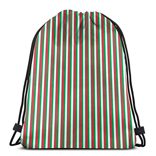 Italy Flag Fern Green Scarlet Red White Vertical Stripes Drawstring Shoulder Bags Gym Bag Travel Backpack Lightweight Gym for Men Women 16.9