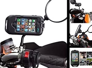 Motorcycle Scooter Moped Mirror Mount with Hard Black Waterproof Tough Case for Apple iPhone 4 / 4S