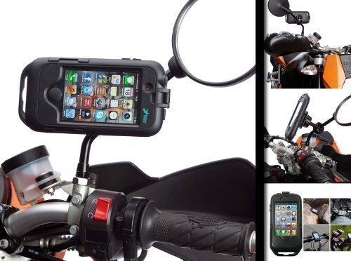 Motorrad Roller Moped Spiegel Halterung mit Hart Schwarz Wasserfeste Robuste Hülle für Apple iPhone 4 / 4S
