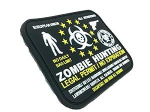 """Badge Velcro Permis Légal Européen EU Chasse """"Zombie Hunting"""" PVC Airsoft Noir"""