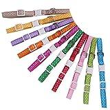 10 Stück Personalisierte Dots Puppy ID Halsbänder - Niedlicher, Verstellbar und Langlebig für Hunde Pet mit Aufzeichnungen Diagramm