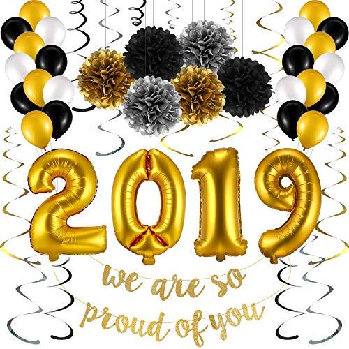 Chuangdi Abschlussfeier Party Lieferungen 2019 Ballons Schwarzes Gold und Weiß Ballon und Abschlussfeier Party Banner zum Aufhängen, 55 Stück Graduation Decorations Favors 2019
