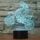 3D Illusione Ottica Led Lampada di Illuminazione Luce Notturna, LSMY Bicicletta Lampada da Tavolo 7 Colori con Acrilico Caricatore USB per Comodino Bambini Cameretta Casa Festa Decorazione