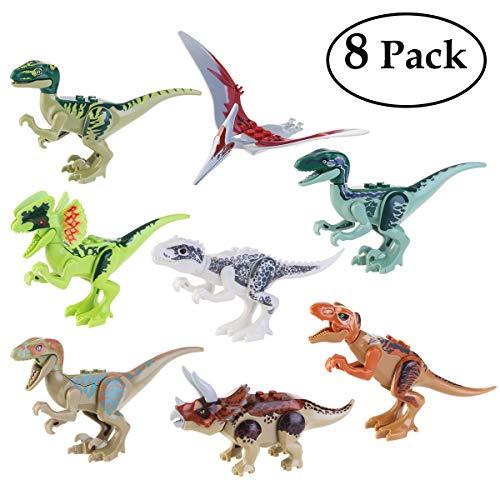 BESTOYARD Dinosaurier Figuren Mini Dinosaurier Spielzeug Dinosaurier Bausteine 8 PC Spielen