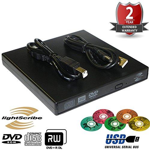 Externes USB 2.0 DVD-Brenner-Laufwerk Lightscribe DVD-RW, CD-RW-Laufwerk DVD-Brenner, Brenner, Kopierer, Leser, wiederbeschreibbare optische DVD-Dual-Layer-Laufwerk für alle Laptop, Desktop, Netbook, Notebook, Apple MAC