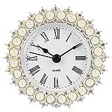 NIKKY HOME Zinn recht klein und niedlich Round Table Uhr Nacht mit Quarz Analog Kristall Strass und künstliche Perle 3.3 '' Schreibtisch und Regal für Wohnzimmer Badezimmer Dekoration, weißer Emaille