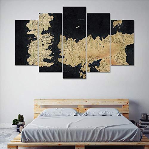 Meaosy Wall Art Canvas Posters Hd Impreso Para Sala De Estar Decoración Para El Hogar Modular 5 Piezas Juego De Tronos… 2