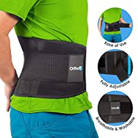 Ortho+ Back Support Lumbar Belt – Lower Back Support Belt - Pain Relief Back Brace – Prevents Injury and Improves Sciatica – Medical Grade Adjustable Design – Bonus Carry Bag