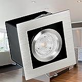 LED Einbau-Leuchte K1 kardanisch schwenkbar, Decken-Leuchte Aluminium gebürstet inkl. OSRAM LED STAR 4,3W GU10 warm-weiß