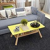 GUI Nordic Couchtisch Kreativer Wohnzimmer Teetisch Sofa Seite Kleine Wohnung Doppelte Lagerung Kleiner Tisch,Gelb,120 * 60 * 45 d