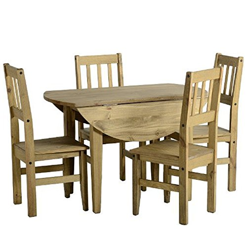 Corona Esstisch und Stühle im Set, Mexikanische Kiefer, Corona drop leaf dining set and 4 Chairs -