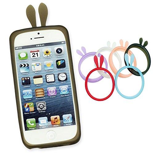 OBiDi - Rabbit Style Ring Silicone Bumper Case / Housse pour Apple iPhone SE / Apple iPhone 5S / 5 - Rouge Noir