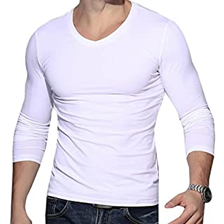 Mens Autumn Long Sleeve V Neck Sport Slim Tights Base Shirt T-Shirt Tops Blouse