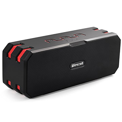 Altavoz Bluetooth, Wirezoll 20W IP67 Impermeable Estéreo Altavoces Inalámbrico Portátil Con Bass Radiador Pasivo, Universal Soporte para Bicicleta Y 6000mAh Batería, 15 Horas de Emisión Continua, Manos Libres, Soporte Para Tarjeta TF, para iPhone, iPad, Android Smartphones,Tablet, PC, Negro 【Upgraded Version】