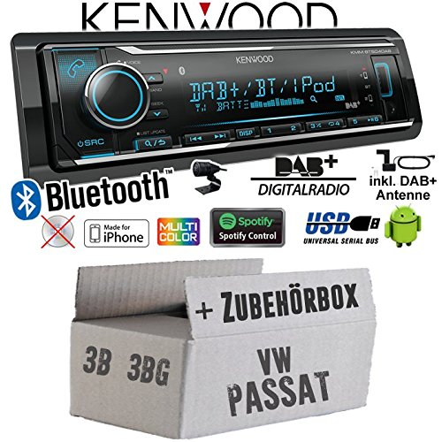 Autoradio Radio Kenwood KMM-BT504DAB - DAB+ | Bluetooth | iPhone/Android | Spotify | VarioColor - Einbauzubehör - Einbauset für VW Passat 3B + 3BG - JUST SOUND best choice for caraudio