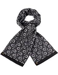 Mailando Herrenschal aus Kaschmir-Woll-Mix und Seide, Paisley Muster, sehr elegant, schwarz – weiss