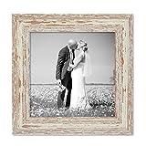 PHOTOLINI Vintage Bilderrahmen 20x20 cm Weiss Shabby-Chic Massivholz mit Glasscheibe und Zubehör/Fotorahmen / Nostalgierahmen
