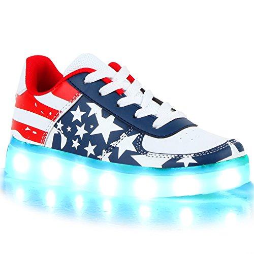Sofort lieferbar aus DE - Leuchtende und Blinkende Damen Herren Kinder Mädchen Jungen Sneakers High und Low Led Light Farbwechsel Schuhe LED Licht Weiss Blau Rot USA