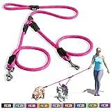 Pawtitas Guinzaglio Morbido Regolabile Riflettente per Addestramento Cucciolo/Cane per Condurre 2 Cani. Extra piccolo / piccolo Rosa