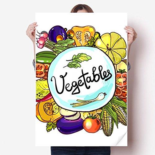 DIYthinker Gemüse Corn Rotish Chinakohl Vinylwand-Aufkleber Poster Mural Tapete Raum Aufkleber 80X55Cm 80cm x 55cm Mehrfarbig