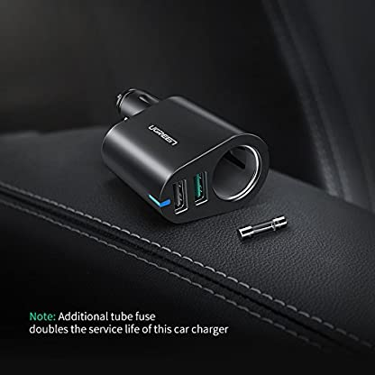 UGREEN-Auto-Zigarettenanznder-90W-Auto-USB-Adapter-KFZ-Ladegert-12V24V-Auto-Verteiler-mit-QC-30-und-5V-24A-Dual-USB-Autoladegert-kompatibel-mit-iPhone-X-Samsung-Galaxy-S9-Huawei-Mate8-usw