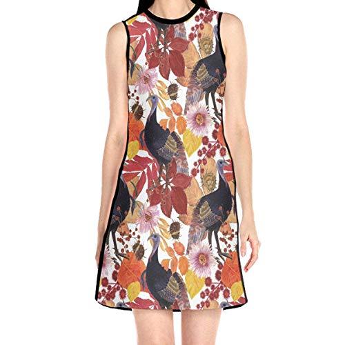 Acme&Real Wild Turkey Pattern Women's Sleeveless Dress Chemise Frock Ladylike Crew Neck Dress Without Sleeve (Wild Turkey-shirt)
