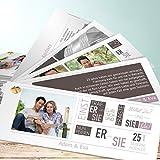 Einladung zur Silberhochzeit, Love Story 200 Karten, Kartenfächer 210x80 inkl. weißer Umschläge, Grau