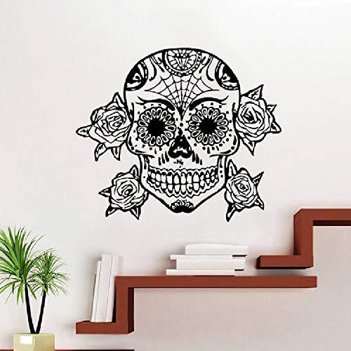 Tattoo Gesicht Make-up Muster Damast Salon Vinyl Wandbild Künstler Raumdekoration Wanddekoration Mode Süßigkeiten Schädel Tapete 57x50cm (Gesicht Süßigkeiten Make-up Schädel,)