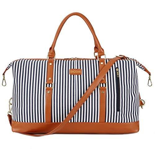 BAOSHA HB-14 Übergroße Canvas Reisetasche Frauen Damen Travel Duffel Bag Carry On Bags Segeltuch Handgepäck Weekender Tasche für Kurze Reise am Wochenend Urlaub mit Gestreift (Blaue Streifen) (Carry On Travel Bag)