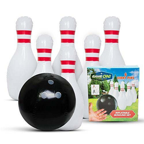 Family Games Bowling Inflatable Toys - Giant Yard Party Outdoor Games for All Ages - Family Fun Pack Indoor Backyard Lawn Carnival Kids Adults Game Toy Set Includes Jumbo Bowling Ball and 6 Large Pins