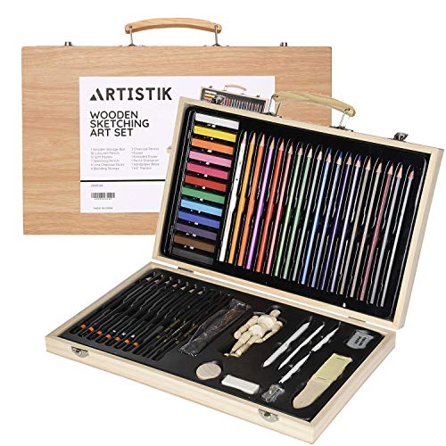Professional Art Set with Mannequin - Professional Artists Sketching & Colouring Case Supplies Provides Variety Sketch Coloring for Beginners The Perfect Gift for Artists, Adults, and Children