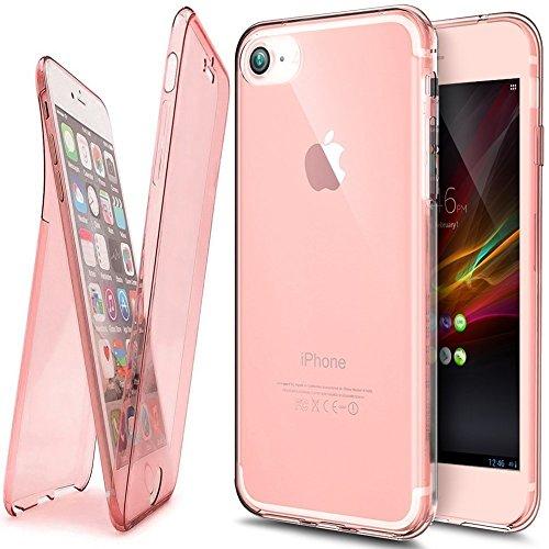 Etsue TPU Schutzhülle für iPhone 7 Silikon Handyhülle,360 ° Komplettschutz Handy-Hülle Vorder- und Rückseiten Schutzhülle Cover Touchscreen TPU Silikon Transparent Klar Kristall Durchsichtig Kratzfest 360°Schutz:Rose Gold