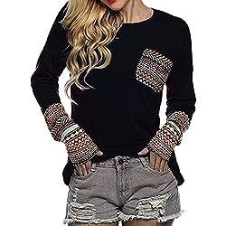 HARRYSTORE Boho blusas de mujer manga larga de remiendo con bolsillo ropa mujer otoño 2017 (Large, Negro)