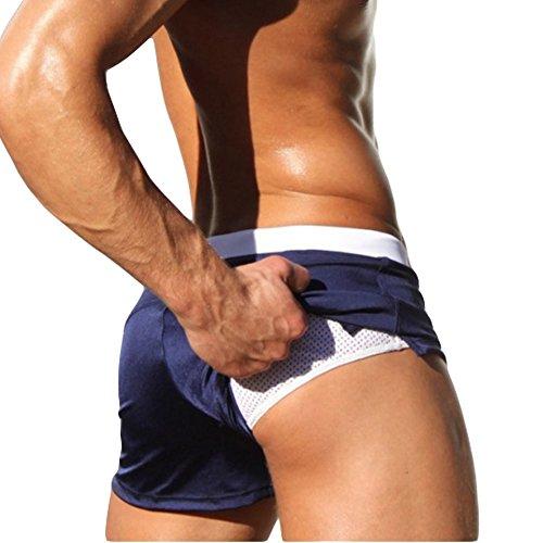 Badehose Herren Schwimmhose Niedrige Taille Hose mit Reißverschluss Taschen Dunkelblau