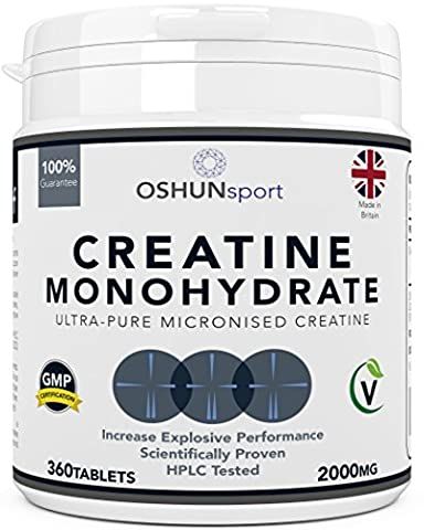 Creatine Monohydrate Tablets | Ultra Pure Micronised Creatine Tablets | Scientifically Proven To Increase Strength, Explosive Performance and Lean Body Mass | HPLC Tested Creatine Pills | OSHUNsport | Limited Time Introductory
