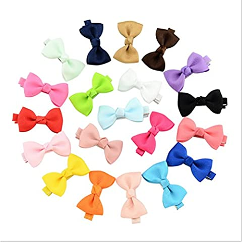 CosCosX 20 Pcs Bowknot Baby Hairpins Mini Hair Barrettes Bows Clips For Girls Kids Toddlers Teens