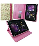 Emartbuy® PU Leather Multi Angle Executive Folio Wallet Cover for Popwinds 10.1 inch Tablet PC (Size 10 inch_Pink/Green Floral)