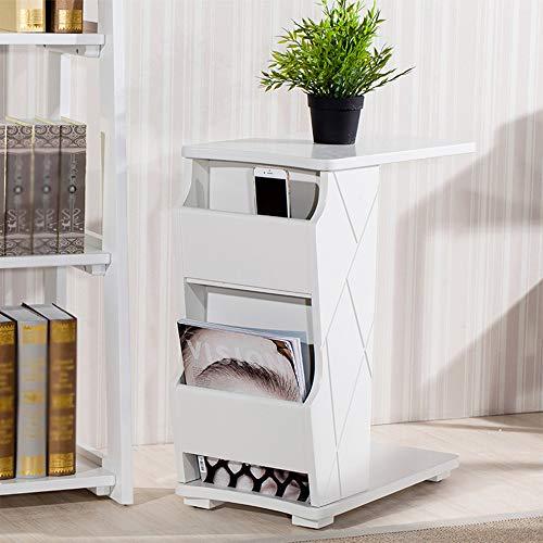 NYDZ Table d'appoint Amovible Porte-revues Multi-Fonction Stockage Table d'appoint Chambre Ordinateur Table de Stockage de Bureau (Color : White)