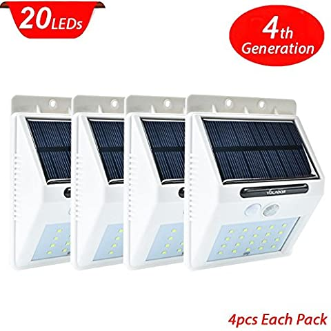 Volador Outdoor Hanging Solar lights,4 Pack 20 LEDs Solar Outdoor Garden Lights with Motion Sensor, Solar Pathway Lighting for Outdoor Wall Garden Lamp Patio Deck Yard Home Driveway Stairs With 2200mAh Battery Auto On/Off (White)