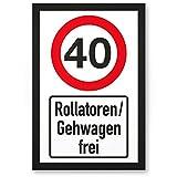 DankeDir! 40 Jahre Rollatoren/Gehwagen Frei, Kunststoff Schild - Geschenk 40. Geburtstag, Geschenkidee Geburtstagsgeschenk Vierzigsten, Geburtstagsdeko/Partydeko / Party Zubehör/Geburtstagskarte