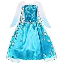 AmzBarley Disfraz Traje de Elsa Princesa Frozen Niña,Disfraz Vestido Niña Infantil Fiesta Navidad Manga