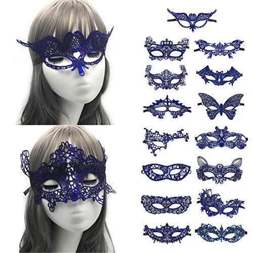 VJUKUBWINE Packung Von 15 Sexy Frauen Blaue Vintage-Spitze Masquerade Fancy Kleid Masken Venezianischen Eyemask-Halloween Mardi Gras Party Maske
